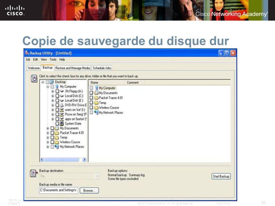 ITE PC v4.0 Chapter 5 60 © 2007 Cisco Systems, Inc. All rights reserved.Cisco Public Copie de sauvegarde du disque dur