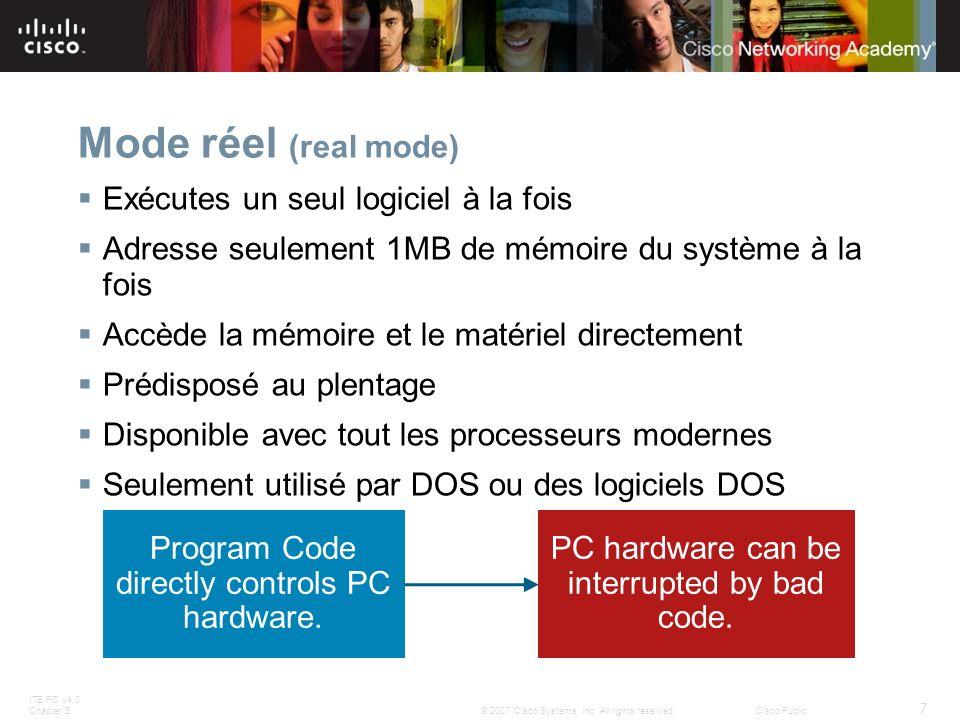 ITE PC v4.0 Chapter 5 7 © 2007 Cisco Systems, Inc. All rights reserved.Cisco Public Mode réel (real mode) Exécutes un seul logiciel à la fois Adresse