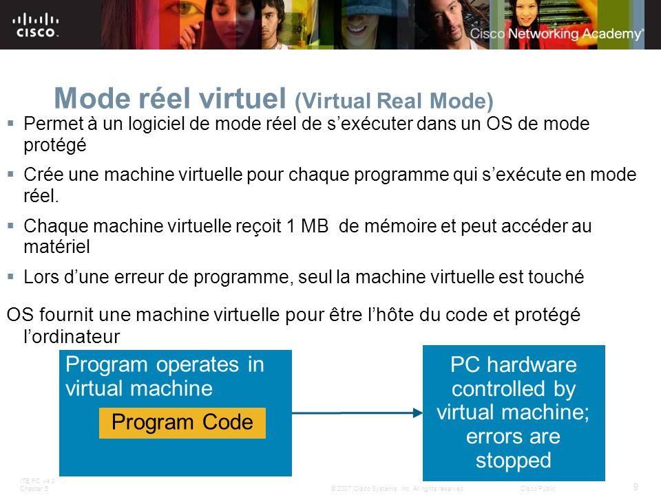 ITE PC v4.0 Chapter 5 9 © 2007 Cisco Systems, Inc. All rights reserved.Cisco Public Mode réel virtuel (Virtual Real Mode) Permet à un logiciel de mode