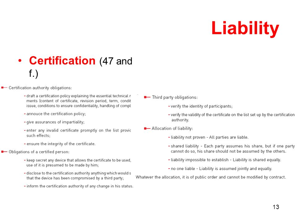 13 Liability Certification (47 and f.)