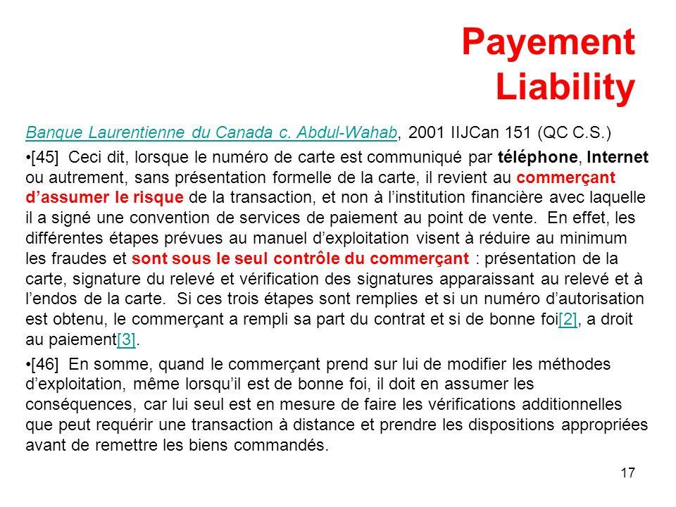 17 Payement Liability Banque Laurentienne du Canada c.
