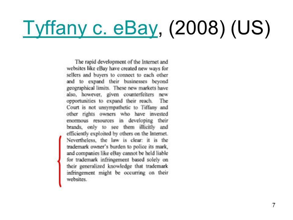 7 Tyffany c. eBayTyffany c. eBay, (2008) (US)