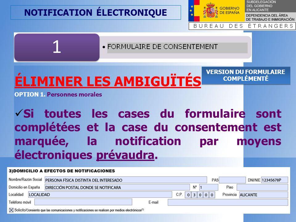 NOTIFICATION ÉLECTRONIQUE OPTION 2. PERSONNES JURIDIQUES, COLÉCTIFS DE PERSONNES MORALES
