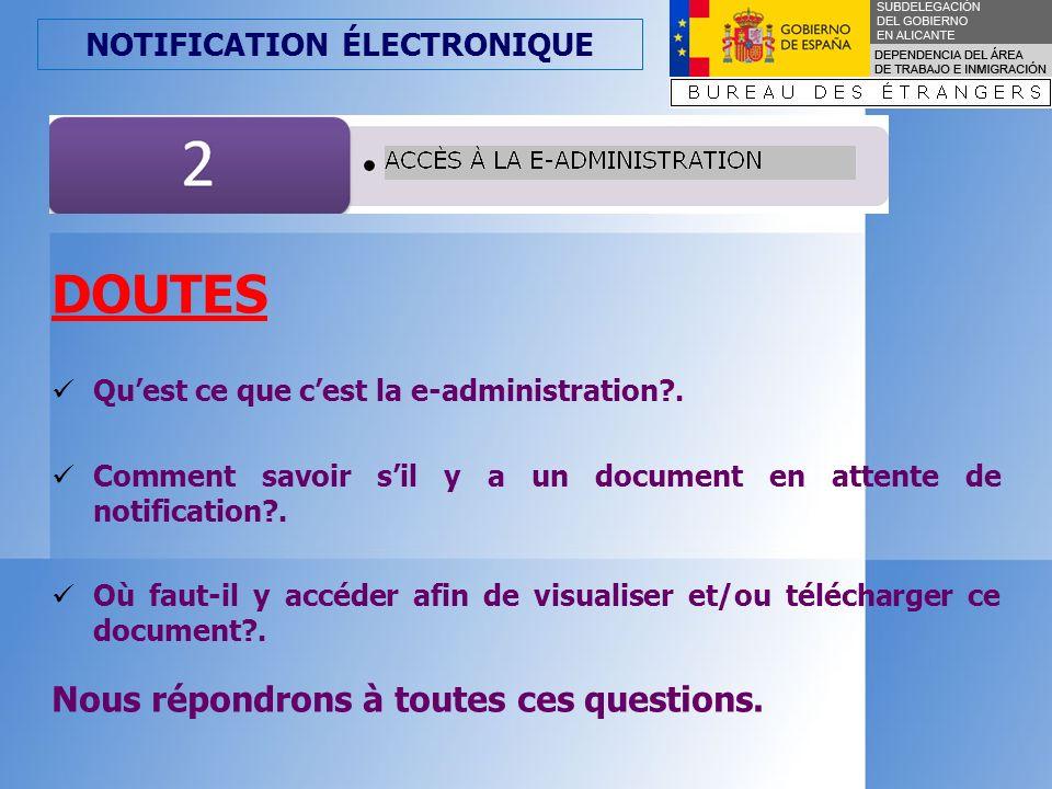 NOTIFICATION ÉLECTRONIQUE Une fois que le document (soit une résolution, soit une demande) est signé de manière électronique et la notification est constatable par moyen électronique (selon les cas), il aura lieu trois actions: 1.Le document sera envoyé à la e-administration.