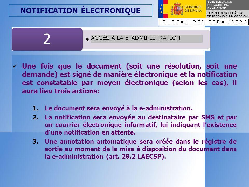 NOTIFICATION ÉLECTRONIQUE 1.Le document sera envoyé à la e-administration.