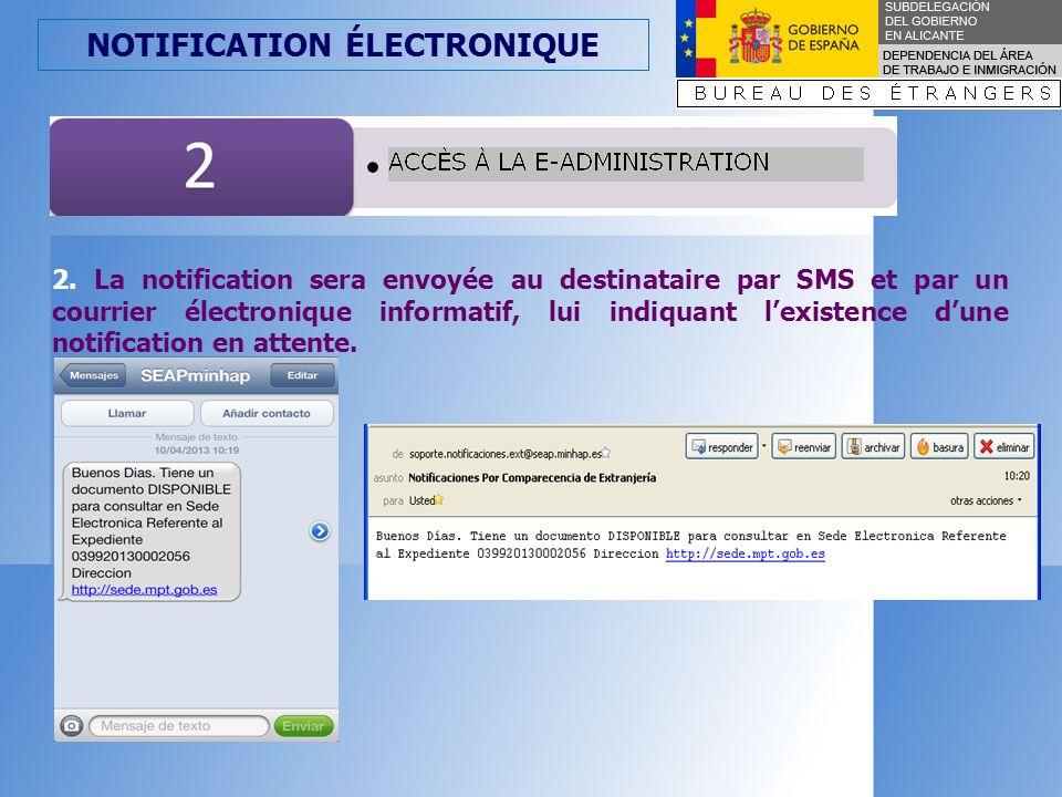 NOTIFICATION ÉLECTRONIQUE 2.