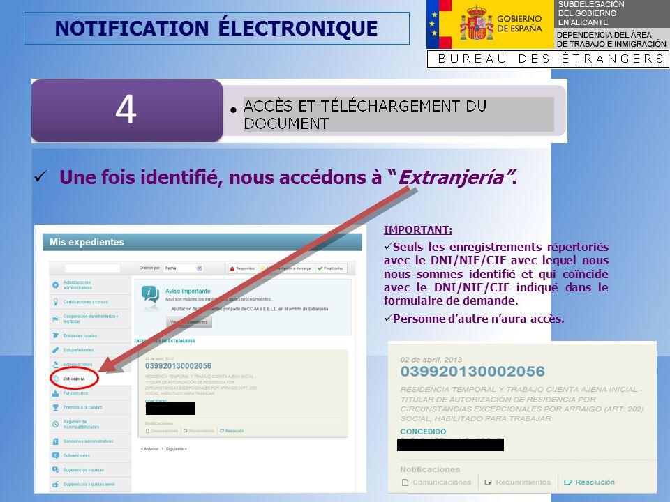 NOTIFICATION ÉLECTRONIQUE Cliquer sur Notificaciones (Notifications) selon le type dacte, qui est dans ce cas-lá, Resolución (Résolution).