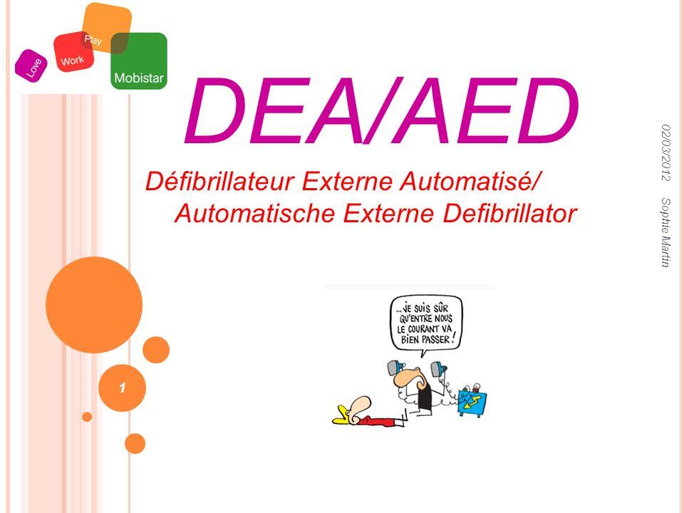 02/03/2012 Sophie Martin 1 DEA/AED Défibrillateur Externe Automatisé/ Automatische Externe Defibrillator