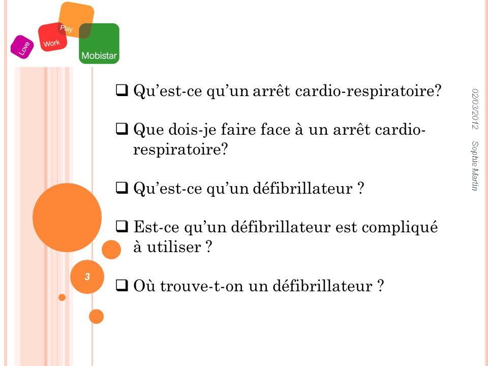 02/03/2012 Sophie Martin 3 Quest-ce quun arrêt cardio-respiratoire.