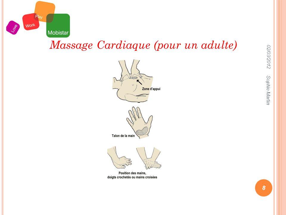 02/03/2012 Sophie Martin 8 Massage Cardiaque (pour un adulte)