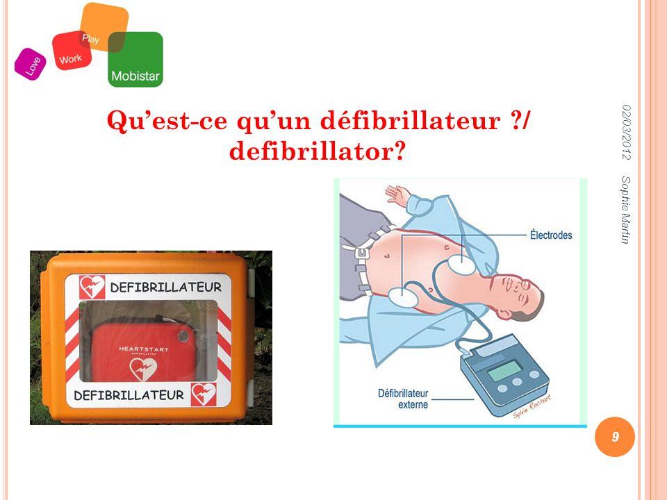 02/03/2012 Sophie Martin 9 Quest-ce quun défibrillateur / defibrillator