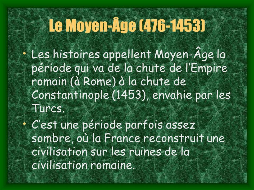 Le Moyen-Âge (476-1453) Les histoires appellent Moyen-Âge la période qui va de la chute de lEmpire romain (à Rome) à la chute de Constantinople (1453), envahie par les Turcs.