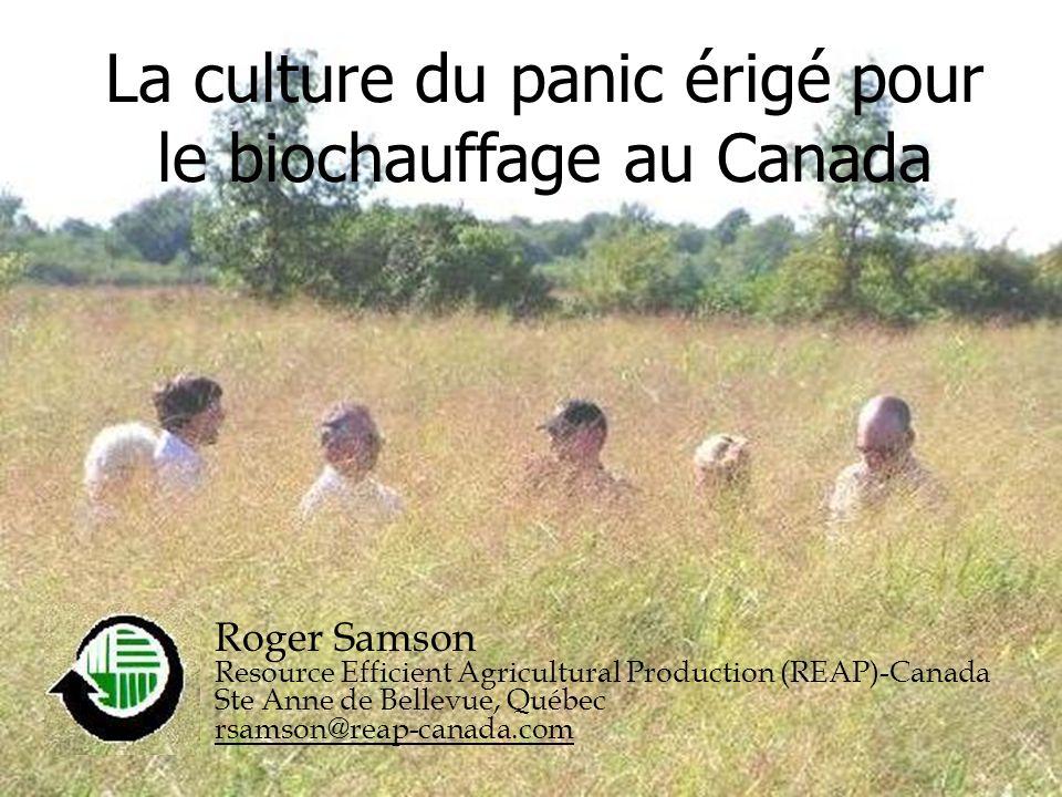 reap-canada.com La culture du panic érigé pour le biochauffage au Canada Roger Samson Resource Efficient Agricultural Production (REAP)-Canada Ste Ann
