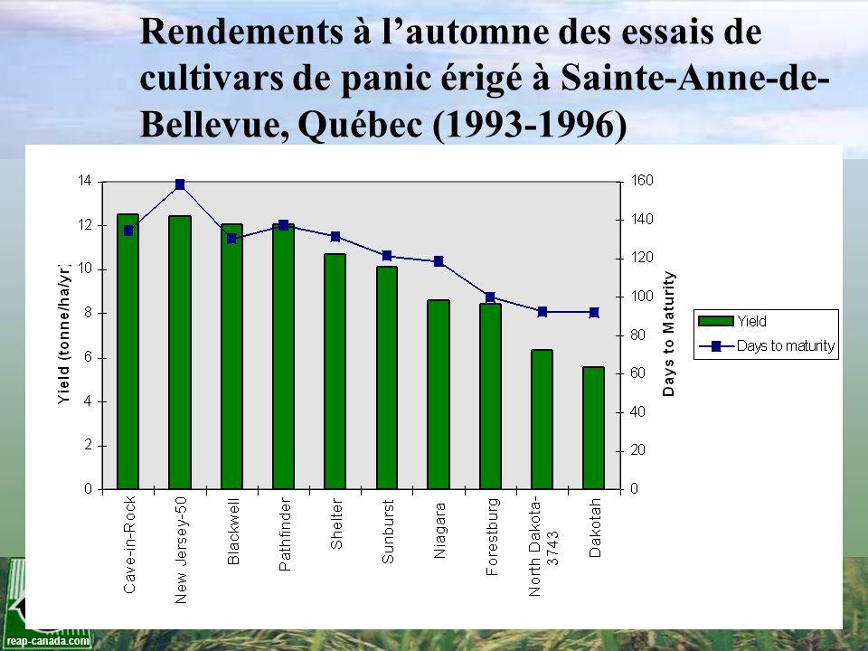 reap-canada.com Rendements à lautomne des essais de cultivars de panic érigé à Sainte-Anne-de- Bellevue, Québec (1993-1996)