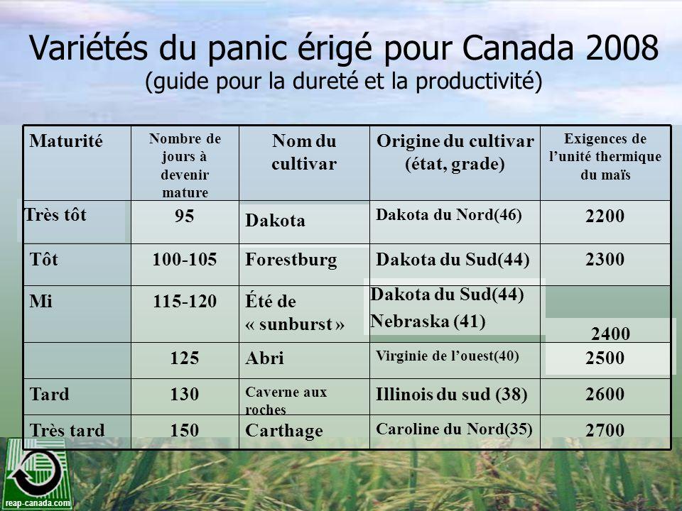 reap-canada.com Variétés du panic érigé pour Canada 2008 (guide pour la dureté et la productivité) Maturité Nombre de jours à devenir mature Nom du cu