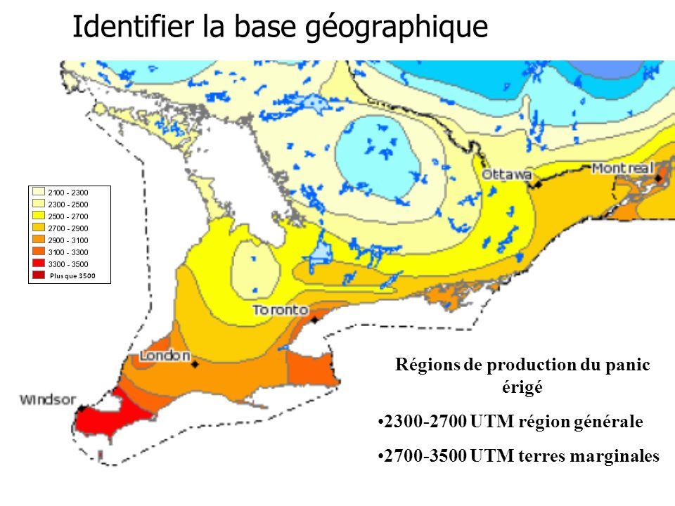 reap-canada.com Identifier la base géographique Régions de production du panic érigé 2300-2700 UTM région générale 2700-3500 UTM terres marginales