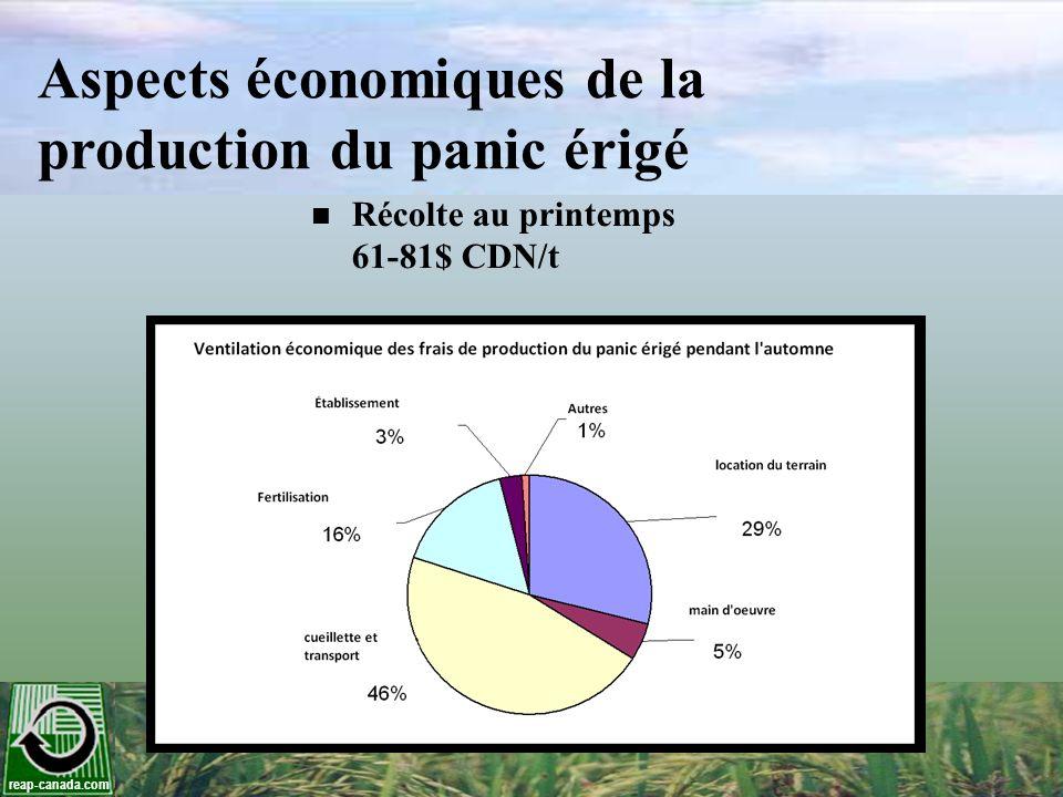 reap-canada.com Aspects économiques de la production du panic érigé Récolte au printemps 61-81$ CDN/t