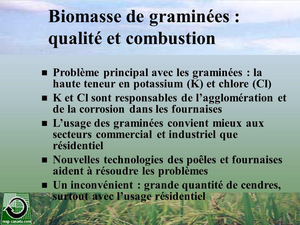 reap-canada.com Biomasse de graminées : qualité et combustion Problème principal avec les graminées : la haute teneur en potassium (K) et chlore (Cl)