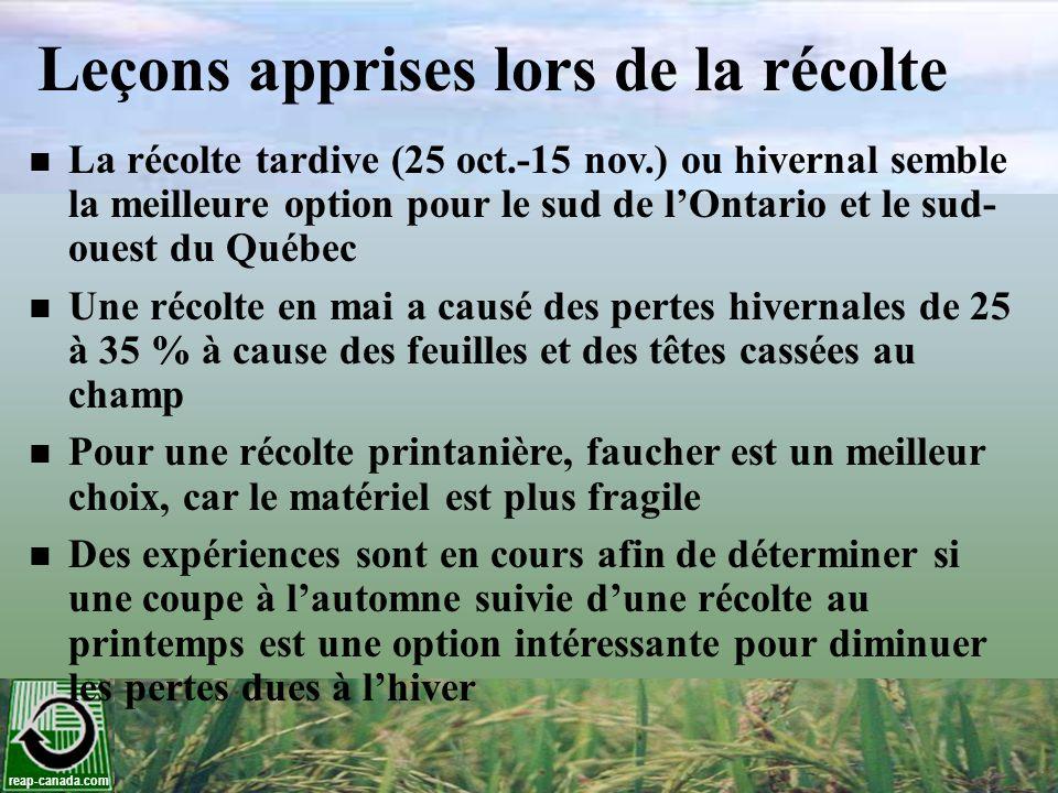 reap-canada.com Leçons apprises lors de la récolte La récolte tardive (25 oct.-15 nov.) ou hivernal semble la meilleure option pour le sud de lOntario