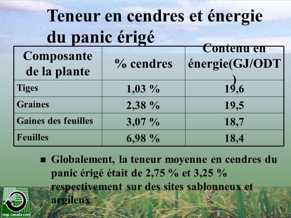 reap-canada.com Teneur en cendres et énergie du panic érigé Composante de la plante % cendres Contenu en énergie(GJ/ODT ) Tiges 1,03 %19,6 Graines 2,3