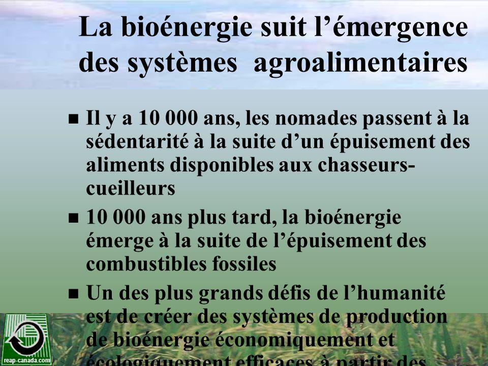 reap-canada.com La bioénergie suit lémergence des systèmes agroalimentaires Il y a 10 000 ans, les nomades passent à la sédentarité à la suite dun épu