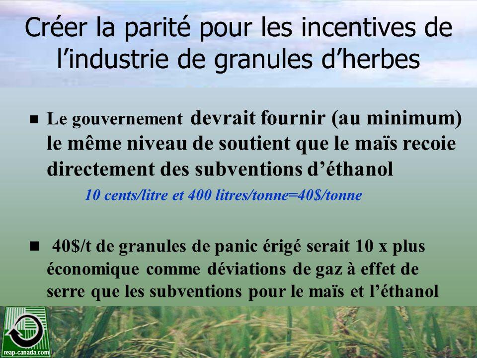 reap-canada.com Créer la parité pour les incentives de lindustrie de granules dherbes Le gouvernement devrait fournir (au minimum) le même niveau de s