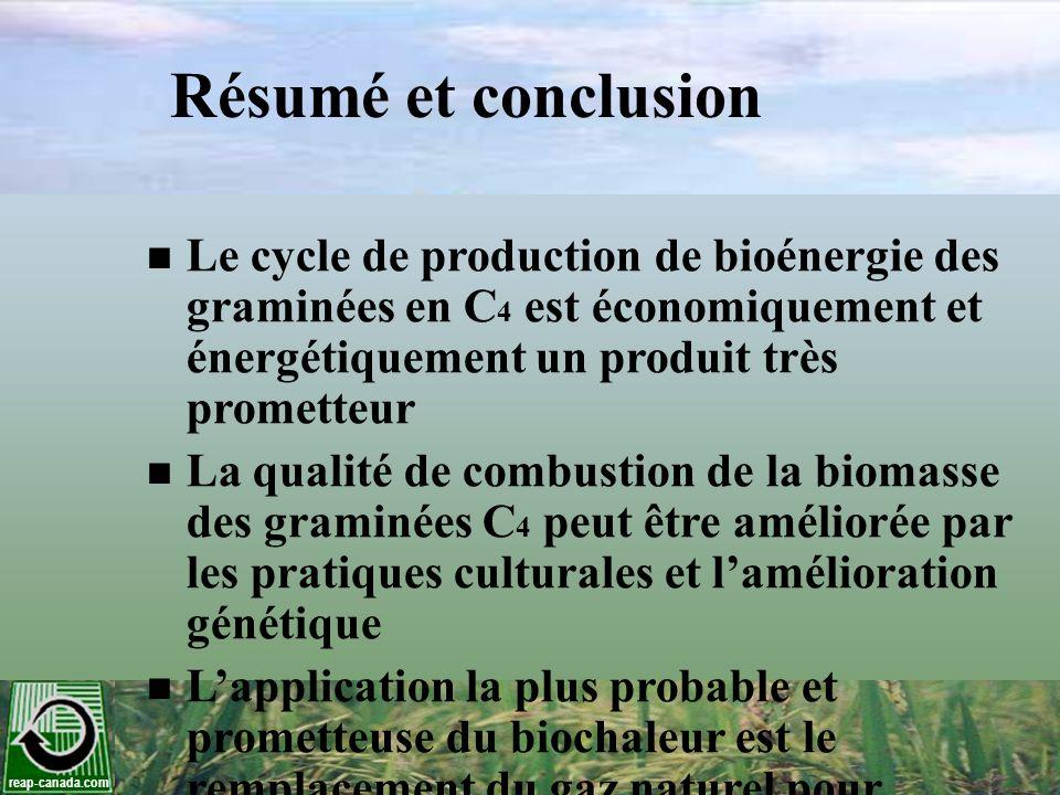reap-canada.com Résumé et conclusion Le cycle de production de bioénergie des graminées en C 4 est économiquement et énergétiquement un produit très p