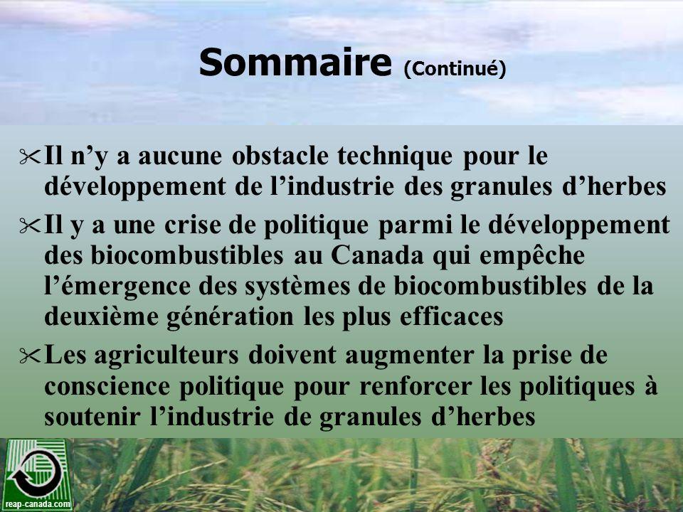 reap-canada.com Sommaire (Continué) Il ny a aucune obstacle technique pour le développement de lindustrie des granules dherbes Il y a une crise de pol