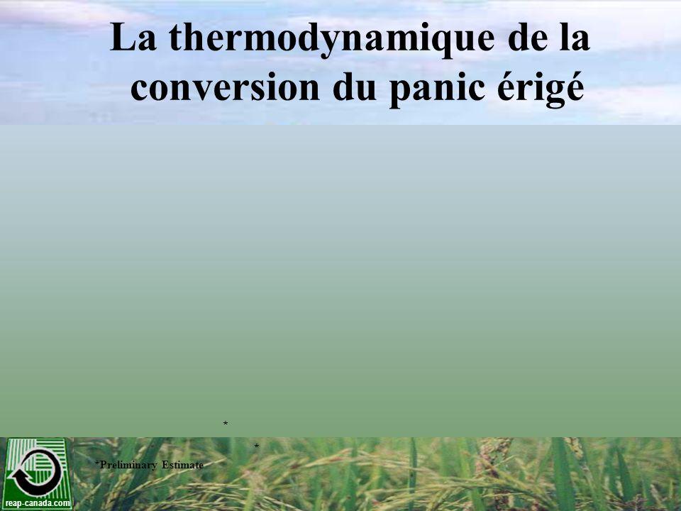 reap-canada.com La thermodynamique de la conversion du panic érigé * *Preliminary Estimate *