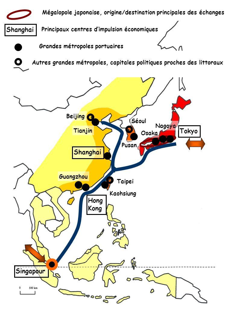 Mégalopole japonaise, origine/destination principales des échanges Principaux centres dimpulsion économiques Shanghai Tokyo Hong Kong Singapour Grande