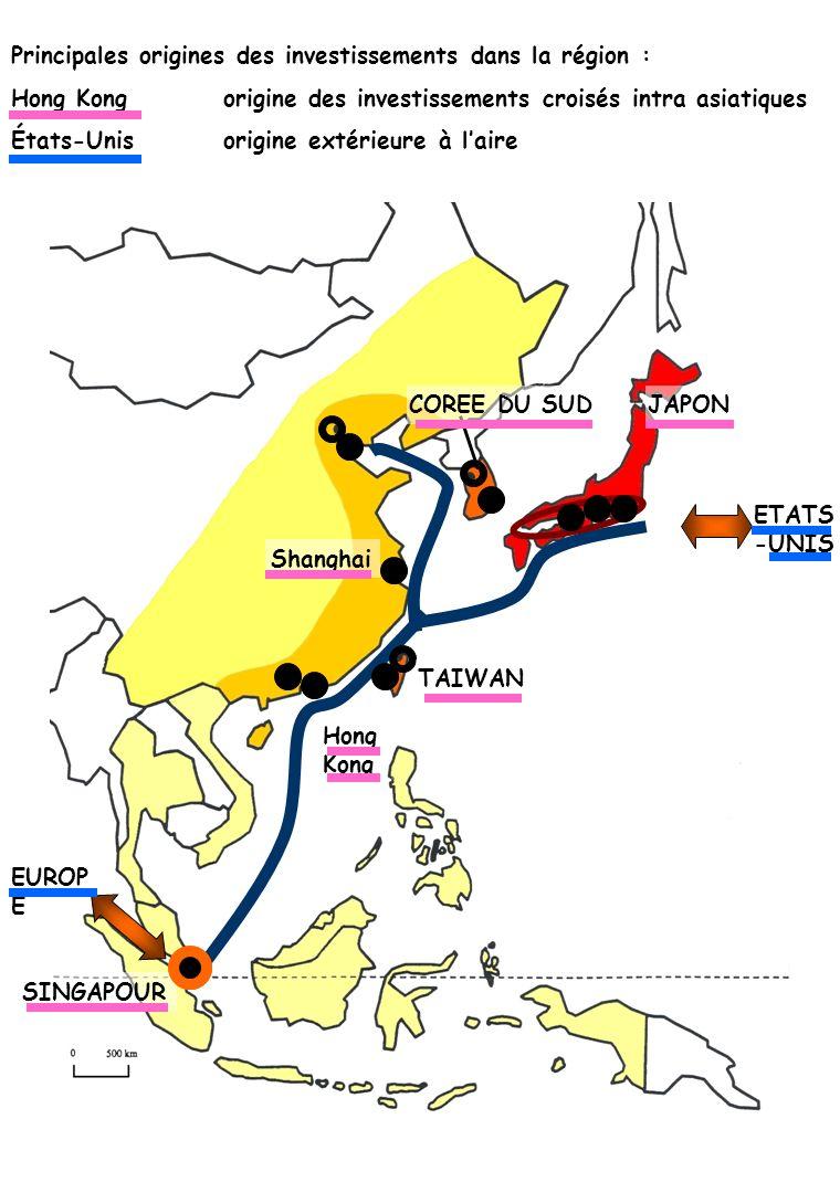 Principales origines des investissements dans la région : Hong Kongorigine des investissements croisés intra asiatiques États-Unisorigine extérieure à
