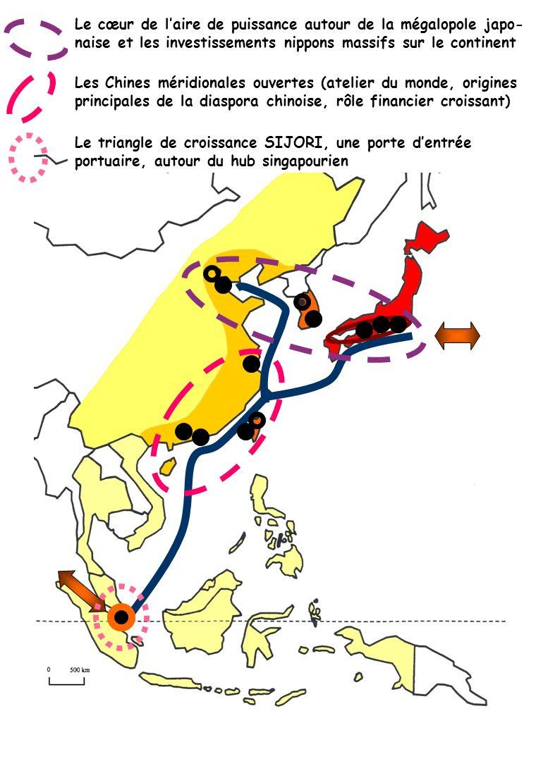 Le cœur de laire de puissance autour de la mégalopole japo- naise et les investissements nippons massifs sur le continent Les Chines méridionales ouve