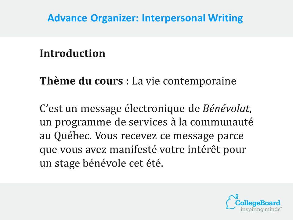 Introduction Thème du cours : La vie contemporaine Cest un message électronique de Bénévolat, un programme de services à la communauté au Québec. Vous