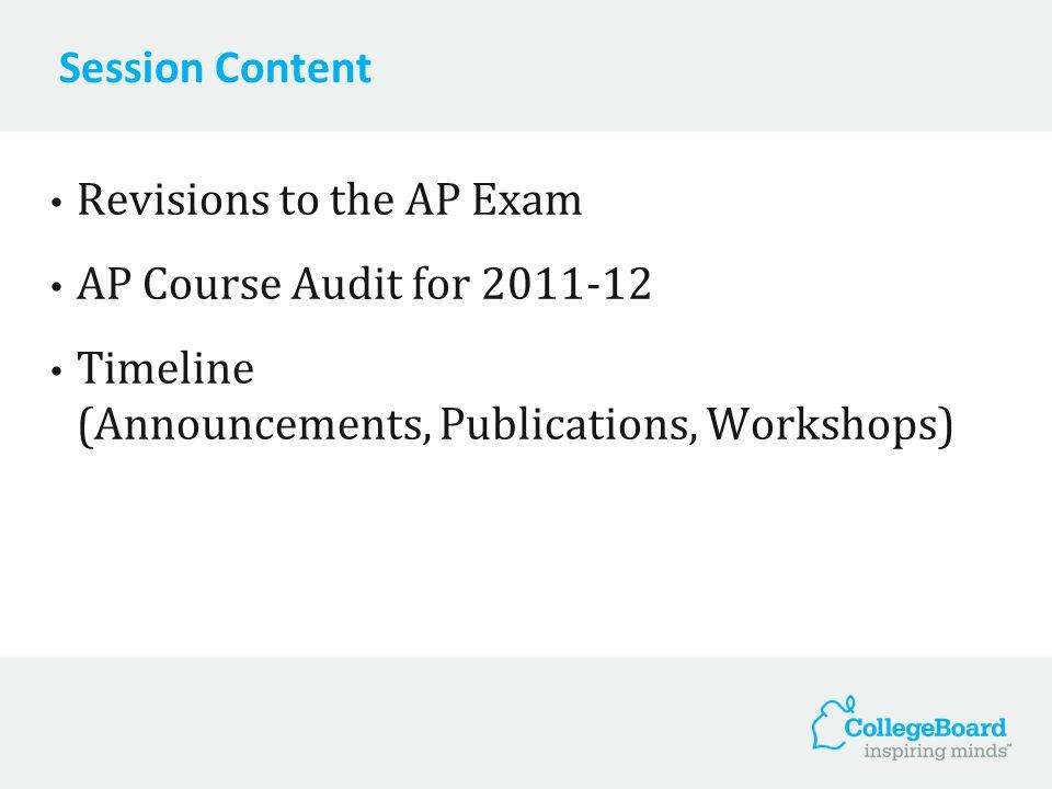 Session Content Revisions to the AP Exam AP Course Audit for 2011-12 Timeline (Announcements, Publications, Workshops)