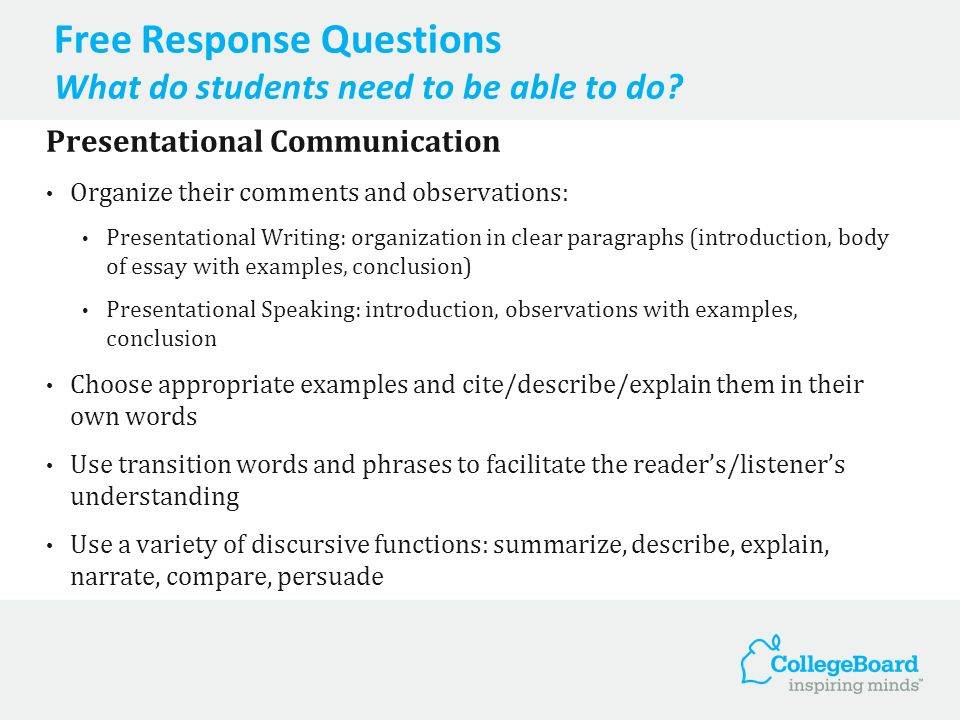 Free Response Questions What do students need to be able to do? Presentational Communication Organize their comments and observations: Presentational
