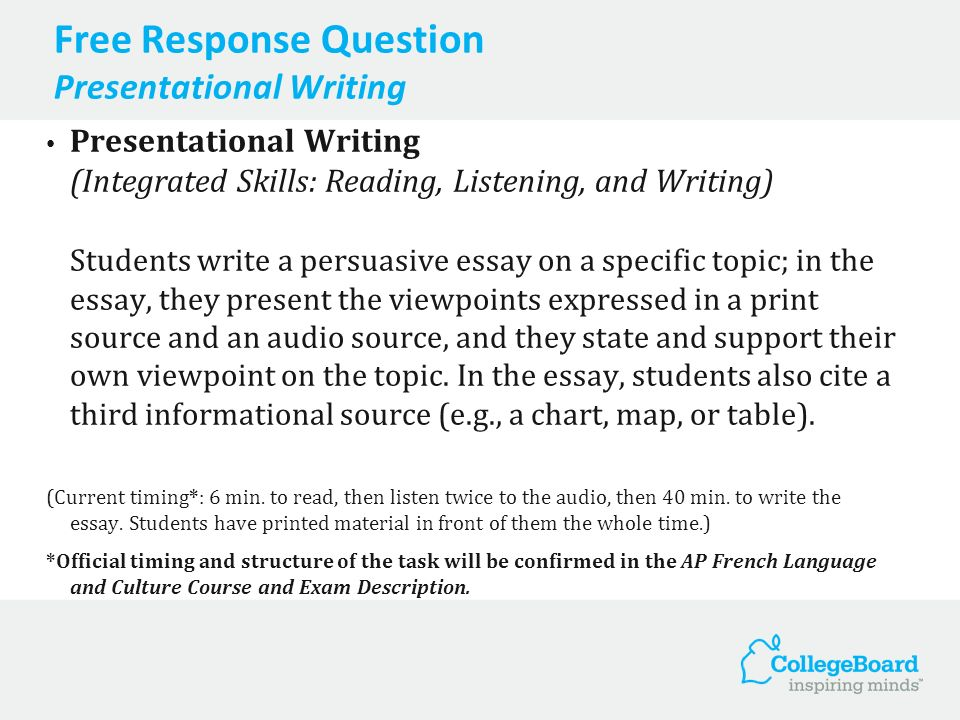 Free Response Question Presentational Writing Presentational Writing (Integrated Skills: Reading, Listening, and Writing) Students write a persuasive