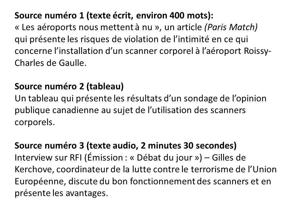 Source numéro 1 (texte écrit, environ 400 mots): « Les aéroports nous mettent à nu », un article (Paris Match) qui présente les risques de violation d