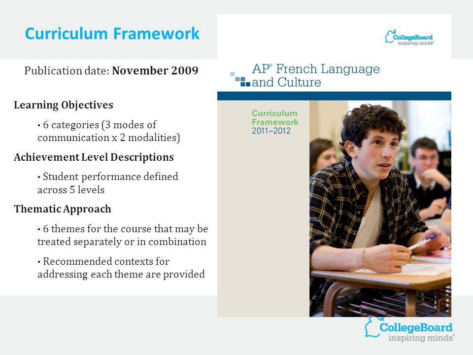 Curriculum Framework Publication date: November 2009 Learning Objectives 6 categories (3 modes of communication x 2 modalities) Achievement Level Desc