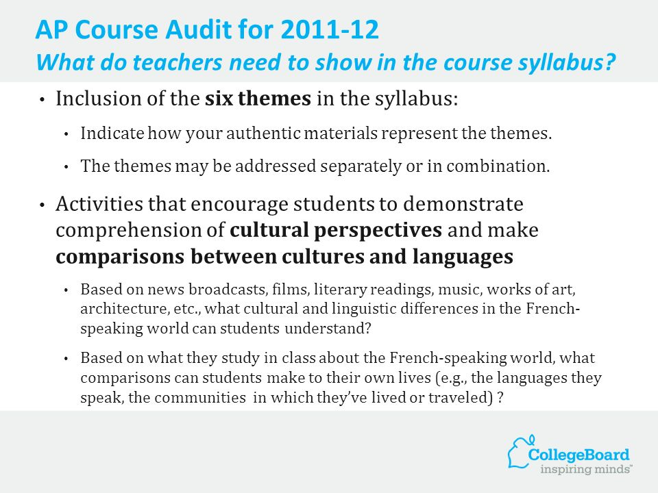 AP Course Audit for 2011-12 What do teachers need to show in the course syllabus? Inclusion of the six themes in the syllabus: Indicate how your authe
