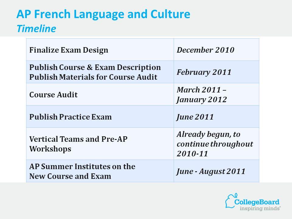 AP French Language and Culture Timeline Finalize Exam DesignDecember 2010 Publish Course & Exam Description Publish Materials for Course Audit Februar