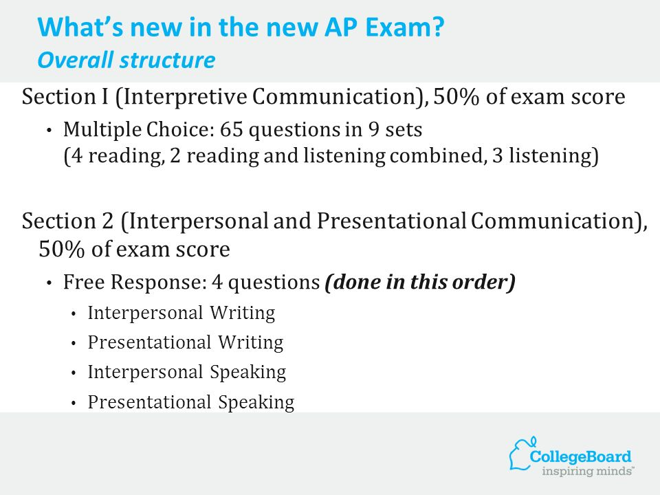Whats new in the new AP Exam? Overall structure Section I (Interpretive Communication), 50% of exam score Multiple Choice: 65 questions in 9 sets (4 r