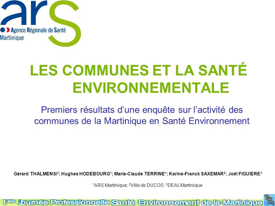 LES COMMUNES ET LA SANTÉ ENVIRONNEMENTALE Premiers résultats dune enquête sur lactivité des communes de la Martinique en Santé Environnement Gérard TH