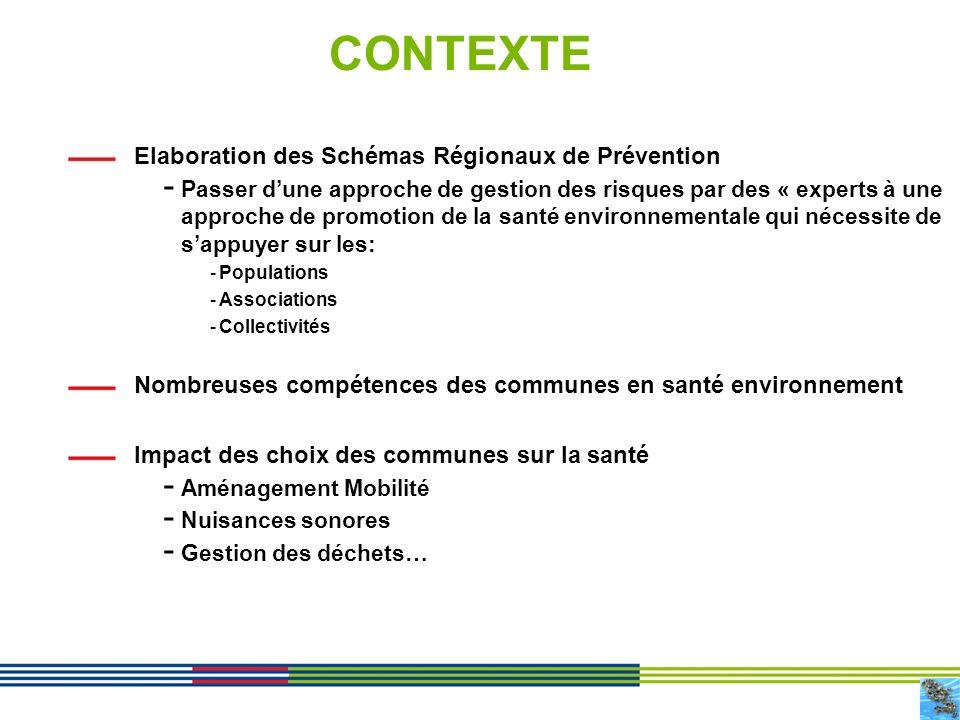 2 CONTEXTE Elaboration des Schémas Régionaux de Prévention - Passer dune approche de gestion des risques par des « experts à une approche de promotion