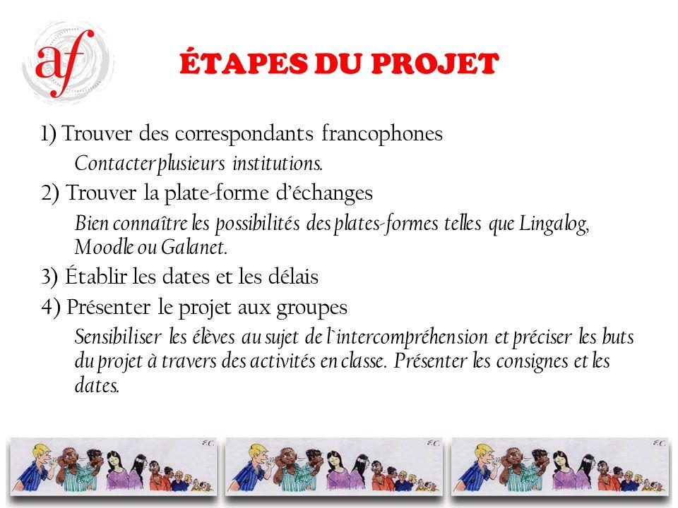 ÉTAPES DU PROJET 1) Trouver des correspondants francophones Contacter plusieurs institutions.