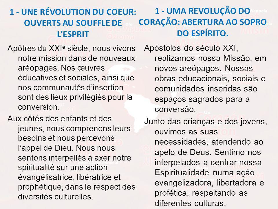 1 - UNE RÉVOLUTION DU COEUR: OUVERTS AU SOUFFLE DE LESPRIT Apôtres du XXI e siècle, nous vivons notre mission dans de nouveaux aréopages.