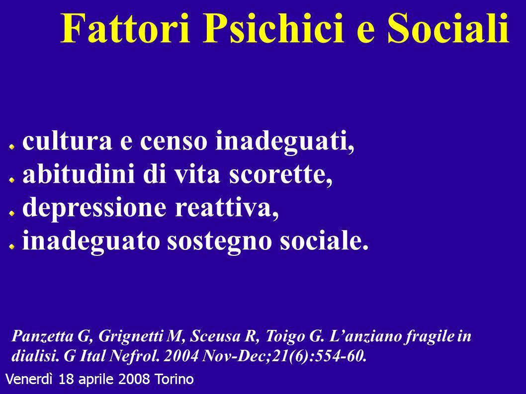 Venerdì 18 aprile 2008 Torino Fattori Psichici e Sociali cultura e censo inadeguati, abitudini di vita scorette, depressione reattiva, inadeguato sost