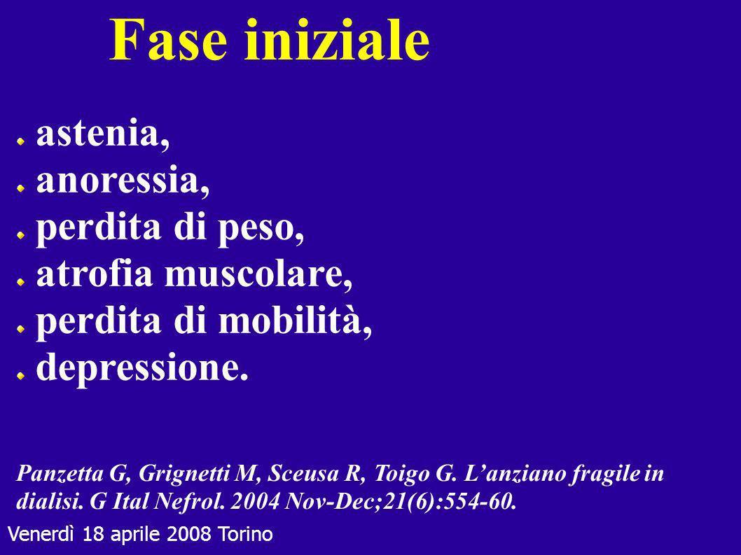 Venerdì 18 aprile 2008 Torino Fase iniziale astenia, anoressia, perdita di peso, atrofia muscolare, perdita di mobilità, depressione. Panzetta G, Grig
