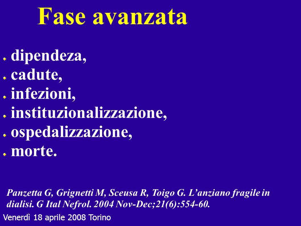 Venerdì 18 aprile 2008 Torino Fase avanzata dipendeza, cadute, infezioni, instituzionalizzazione, ospedalizzazione, morte. Panzetta G, Grignetti M, Sc