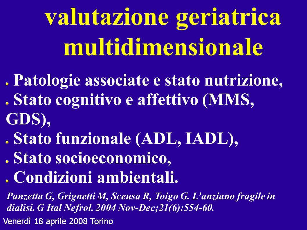 Venerdì 18 aprile 2008 Torino valutazione geriatrica multidimensionale Patologie associate e stato nutrizione, Stato cognitivo e affettivo (MMS, GDS),