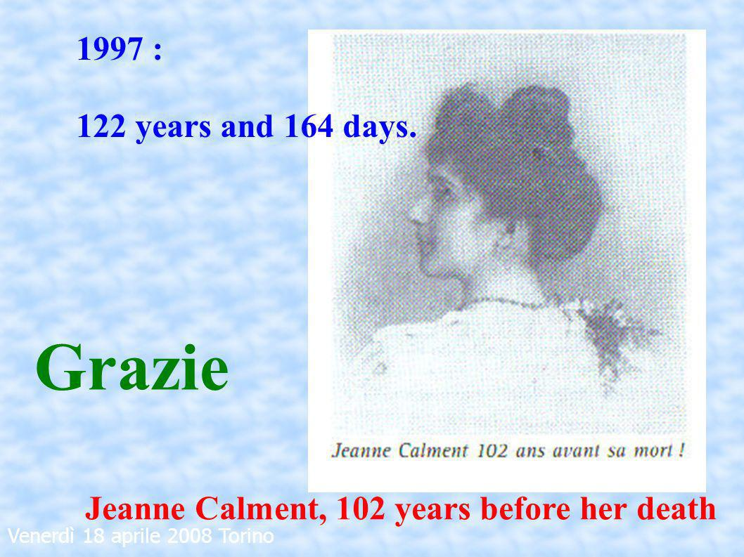 Venerdì 18 aprile 2008 Torino 1997 : 122 years and 164 days. Grazie Jeanne Calment, 102 years before her death